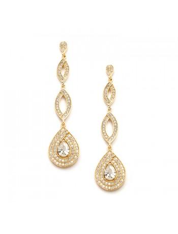 Gold Micro pave Cubic Zirconia Teardrop Wedding Earrings