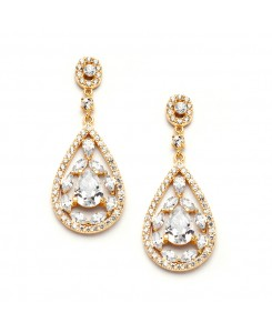 Gold Cubic Zirconia Mosaic Teardrop Bridal, Prom or Wedding Earrings