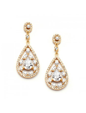 Gold Cubic Zirconia Mosaic Teardrop Bridal, Prom or Wedding Earrings