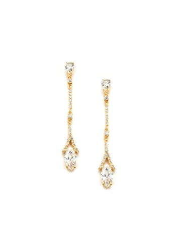 Delicate Cubic Zirconia Linear Wedding or  Bridesmaids Earrings in Gold