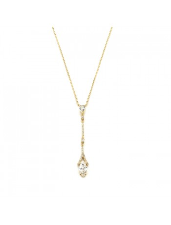 Graceful Linear Gold Cubic Zirconia Wedding or Prom Necklace