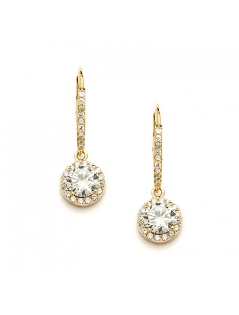 Delicate Cubic Zirconia Gold Pave Drop Bridal  Earrings