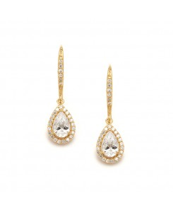 Pear Shaped Gold Cubic Zirconia Drop Wedding or Bridal Earrings