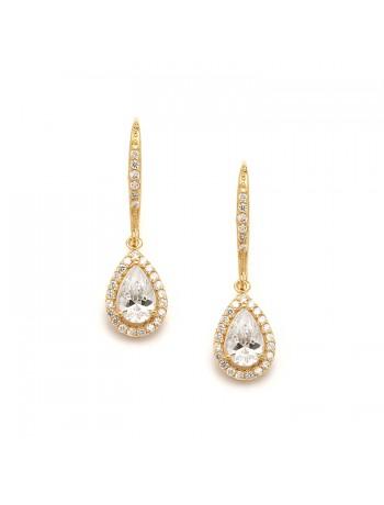 Pear Shaped Gold Cubic Zirconia Drop Wedding or Bridal Earrings