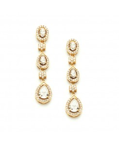Breathtaking Gold Cubic Zirconia Dangle Wedding or Bridal Earrings