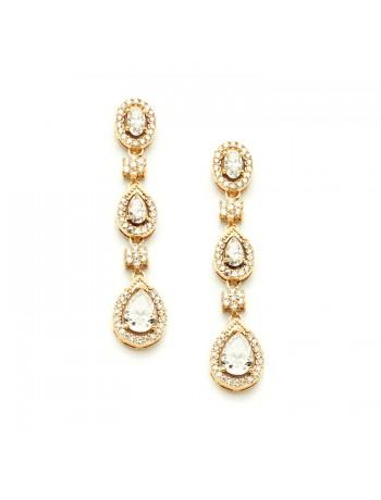 Breathtaking Gold Cubic Zirconia Dangle Wedding or Bridal Earrings