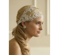 Split Lace Ribbon Wedding Headband with French Netting
