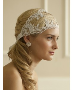 Split Lace Ribbon Wedding Headband with French Netting