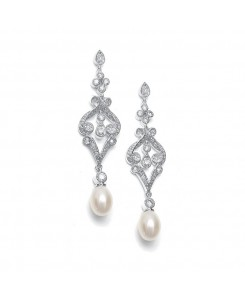Vintage CZ Scroll Earrings with Freshwater Pearl