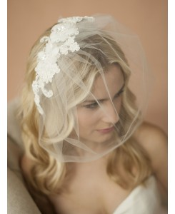 Double Flower Ivory Lace Applique on Handmade Tulle Birdcage Blusher Veil