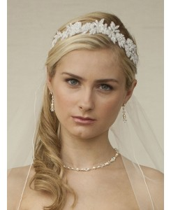 White Lace Applique Garden Wedding Headband with Meticulous Edging