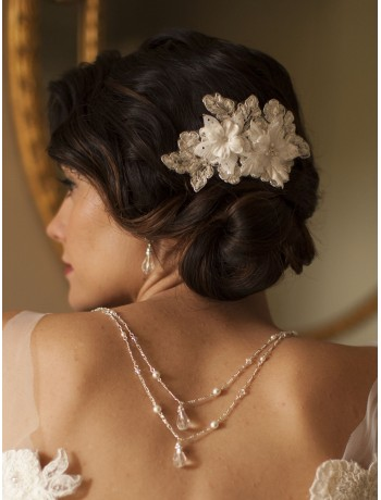 Sophisticated Handmade Bridal Comb with Ivory Beaded Floral Lace Applique