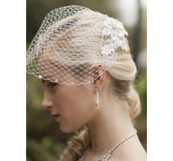 Bold Crystal White Lace Applique Bridal Veil with French Net Birdcage Blusher & Scattered Crystal Edge