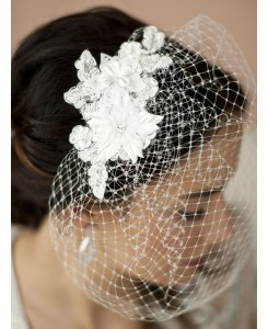 French Net Vintage Bridal Veil with White Beaded & Floral Lace Applique