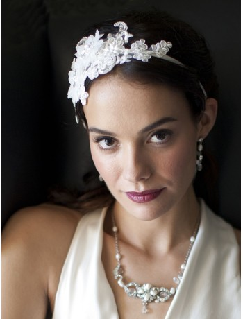 Luxurious White Lace Applique Wedding Ribbon Headband with Georgette Flowers
