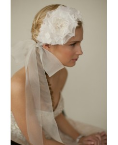 Handmade Ivory Silk Flower Bridal Headband with Wide Sheer Ribbon