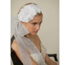 Handmade White Silk Flower Bridal Headband with Wide Sheer Ribbon
