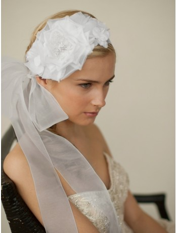 Handmade White Silk Flower Bridal Headband with Wide Sheer Ribbon