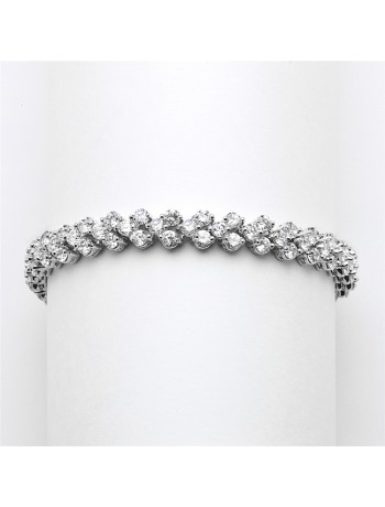 Elegant Silver Rhodium Cubic Zirconia Wedding or Prom Tennis Bracelet