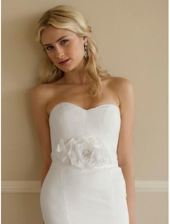 Handmade White Silk Flower Bridal Belt with Sheer Ribbon