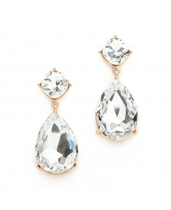 Chunky Crystal Dangle Wedding or Prom Earrings set in Gold