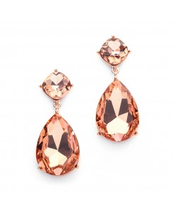 Chunky Champagne Crystal Wedding or Prom Earrings in Rose Gold