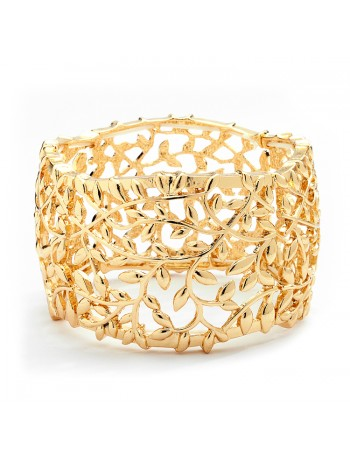 Open Vine Gold Stretch Bracelet for Prom, Homecoming or Wedding