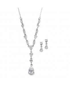 Delicate CZ Pears Wedding Necklace Set