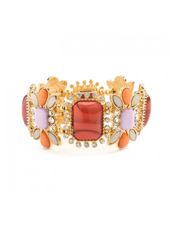 Gorgeous Crystal, Coral & Opaque Pastel Stretch Bracelet
