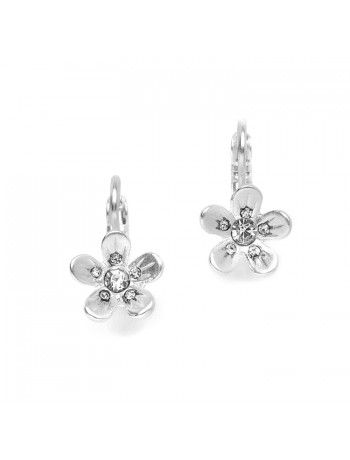 Matte Silver Flower Prom or Bridesmaids Earrings