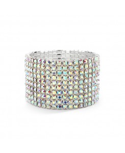10-Row AB Iridescent Rhinestone Wedding or Prom Stretch Bracelet
