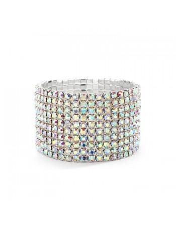 10-Row AB Iridescent Rhinestone Wedding or Prom Stretch Bracelet