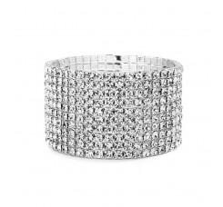 10-Row Clear Rhinestone Wedding or Prom Stretch Bracelet