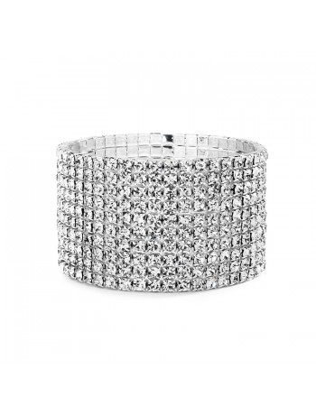 10-Row Clear Rhinestone Wedding or Prom Stretch Bracelet