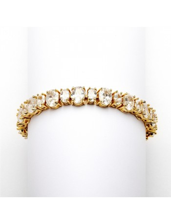 Spectacular Multi Ovals Gold Cubic Zirconia Wedding or Pageant Bracelet