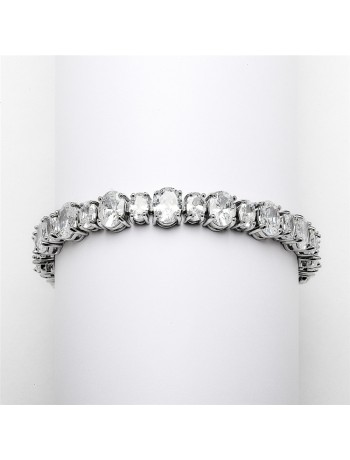 Spectacular Multi Ovals Silver Rhodium Cubic Zirconia Wedding or Pageant Bracelet