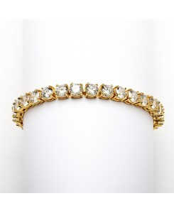 Glamorous 14K Gold Plated Bridal or Prom Tennis Bracelet in Petite Size
