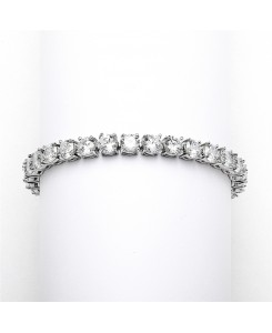 Glamorous Silver Rhodium Bridal or Prom Tennis Bracelet in Petite Size