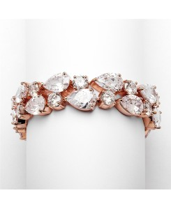 Red Carpet Bold CZ Pears Bridal Statement Bracelet in Rose Gold
