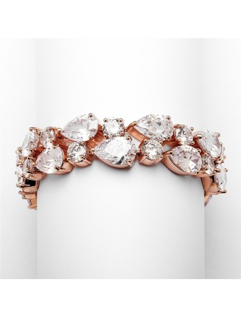 Red Carpet Bold CZ Pears Bridal Statement Bracelet in Rose Gold