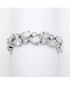 Red Carpet Bold CZ Pears Bridal Statement Bracelet in Silver Rhodium