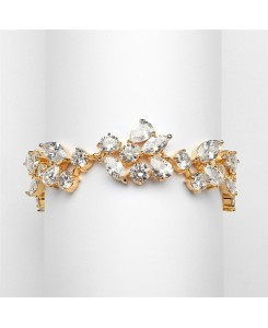 Top Selling Mosaic Shaped CZ Wedding Bracelet in 14K Gold Plating - Petite Size