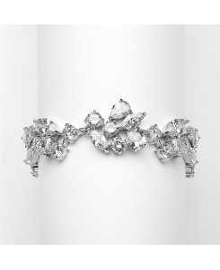 Top Selling Mosaic Shaped CZ Wedding Bracelet in Silver Rhodium - Petite Size