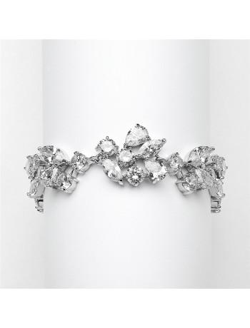 Top Selling Mosaic Shaped CZ Wedding Bracelet in Silver Rhodium - Petite Size