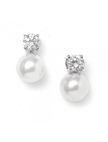 Pearl & CZ Solitaire Bridal Earrings