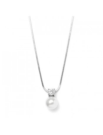 Pearl & CZ Solitaire Bridal Necklace