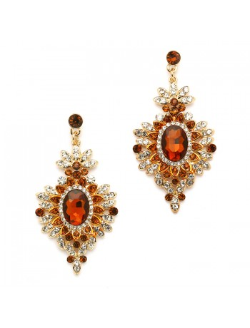 Retro Glam Smoked Topaz & Gold Drop Earrings