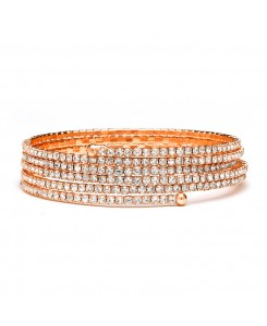 Rose Gold 5-Row Delicate Rhinestone Coil Bracelet