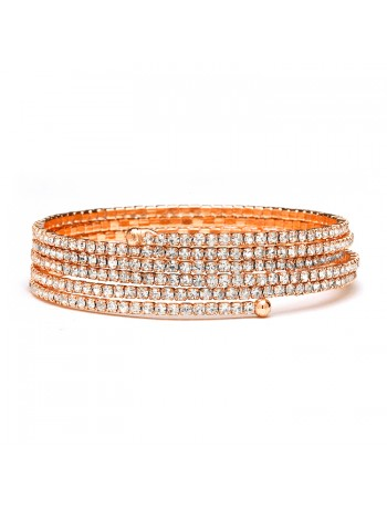 Rose Gold 5-Row Delicate Rhinestone Coil Bracelet