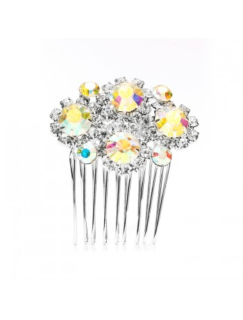 Dazzling Iridescent AB & Crystal Rhinestone Hair Comb